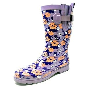 "Women 11"" Mid-Calf Purple Flower Rubber Rain Boots"
